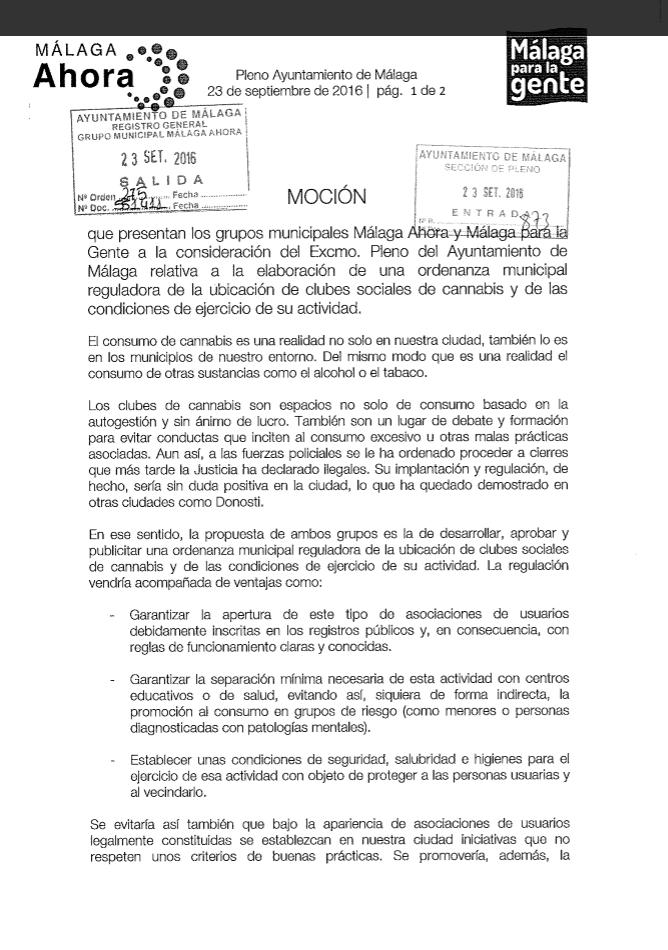 España. Se presenta en el Ayuntamiento de Málaga propuesta para regular los clubes cannábicos 1