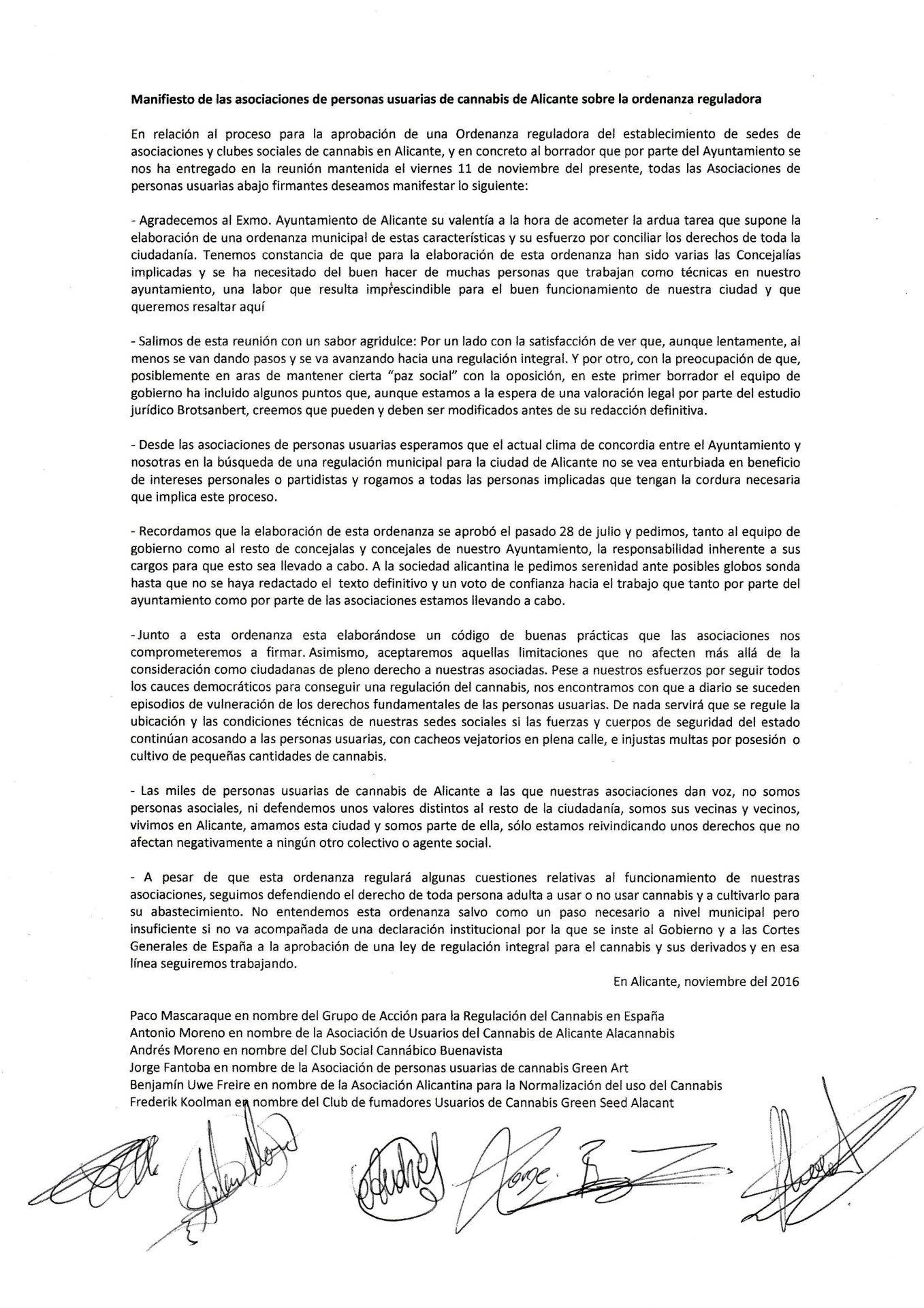 Manifiesto de las asociaciones de Alicante sobre la ordenanza reguladora de clubes de cannabis 1